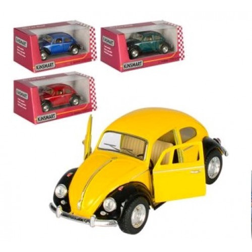 Машинка жел KINSMART KT5057WE Volkswagen Classical Beetle (Black Fender) метал.инерц.откр.дв