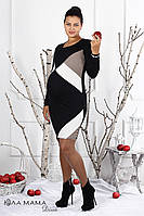 Платье для беременных Monclear черно-бело-бежевая абстракция - M,L