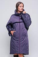Пальто женское зима размер 54 цвет фиолет