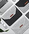 """Чохол-конверт з фетру для Macbook 12/ Air11.6"""" - чорно-сірий, фото 4"""