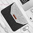 """Чохол-конверт з фетру для Macbook 12/ Air11.6"""" - чорно-сірий, фото 7"""