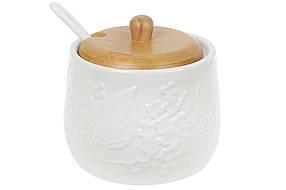 Сахарница фарфоровая 350мл с фарфоровой ложкой и деревянной крышкой (938-017)