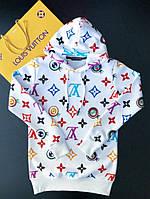 Кофта худи с капюшоном мужская белая Луи Витон LV  принт реплика топового бренда
