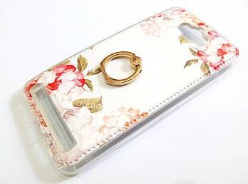 Чехол с кольцом для Asus Zenfone Max ZC550KL силиконовый с рисунком цветы белый