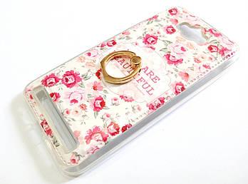 Чехол с кольцом для Asus Zenfone Max ZC550KL силиконовый с рисунком цветы маленькие розы