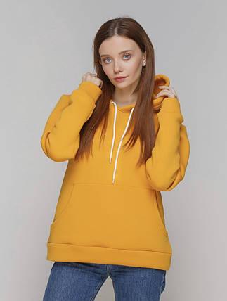 Худі жіноче, з капюшоном колір гірчиця на флісі, фото 2