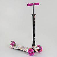 Самокат MAXI Best Scooter Орнамент розовый со светящимися колесами