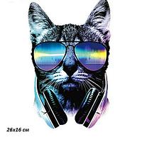 Термонаклейка Кот наушники 1 шт, наклейка на одежду