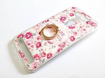 Чехол с кольцом для Asus Zenfone 2 Laser ZE500KL / ZE500KG силиконовый с рисунком цветы маленькие розы белый