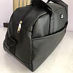 Спортивна шкіряна сумка чоловіча жіноча дорожня сумка Puma кожзам чорна, фото 4