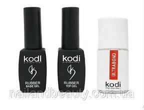 База і топ для гель-лаку Коді + бонд Rubber Base Kodi 8 ml + Rubber Top Kodi 8 ml + Ultrabond Kodi