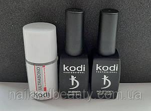 База і топ для гель-лаку Коді + бонд (Rubber Base Kodi 12 ml + Rubber Top Kodi 12 ml + Ultrabond Kodi)