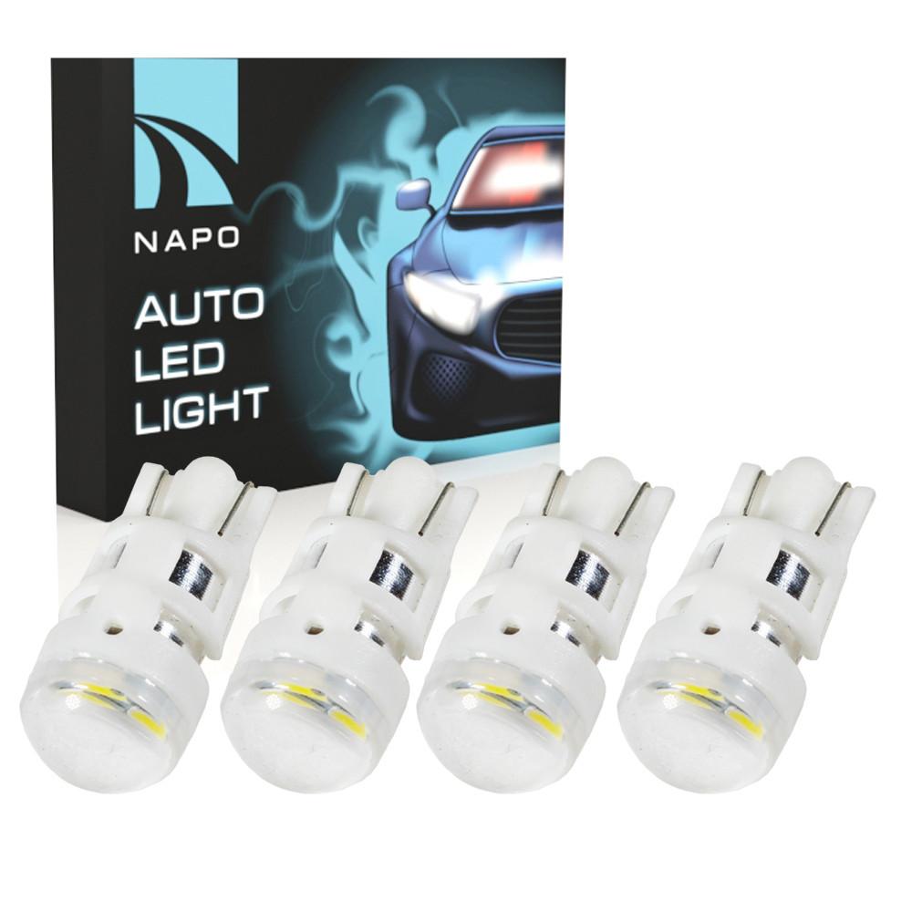 Автолампа диодная T10-2835-3smd, комплект 4 шт, W5W, T10, цвет свечения белый