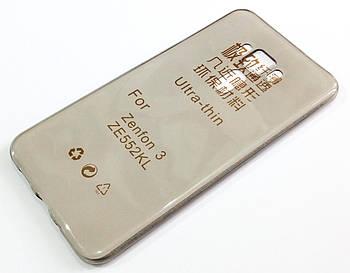 Чехол для Asus Zenfone 3 ZE552KL силиконовый ультратонкий прозрачный серый