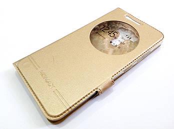 Чехол книжка с окошком momax для Asus Zenfone 3 Laser ZC551KL золотой