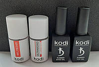 База и топ для гель-лака Коди (База Kodi 12 ml + Топ Kodi 12 ml + Ultrabond Kodi + Nailfresher Kodi)