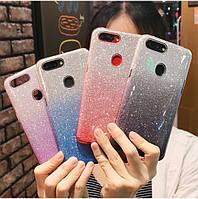 Силиконовый чехол с блестками - градиент для Samsung Galaxy A20s (выбор дизайна)