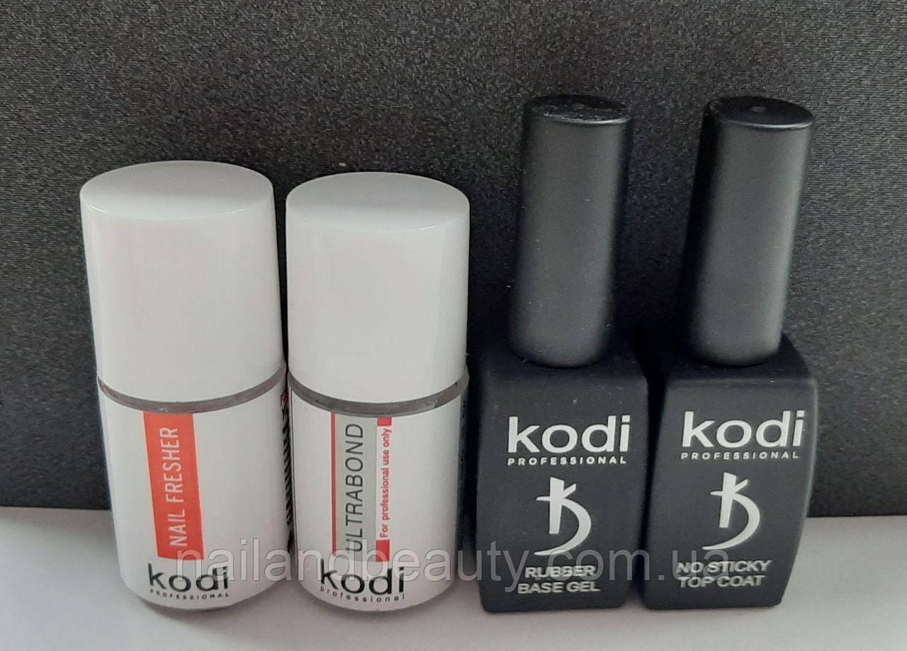 База и топ Коди (Rubber Base Kodi 12 ml + Rubber Top Kodi 12 ml + Ultrabond Kodi 15 ml + Nailfresher 15 ml )