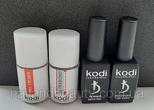 База і топ Коді (Rubber Base Kodi 12 ml + Rubber Top Kodi 12 ml + Ultrabond Kodi 15 ml + Nailfresher 15 ml )