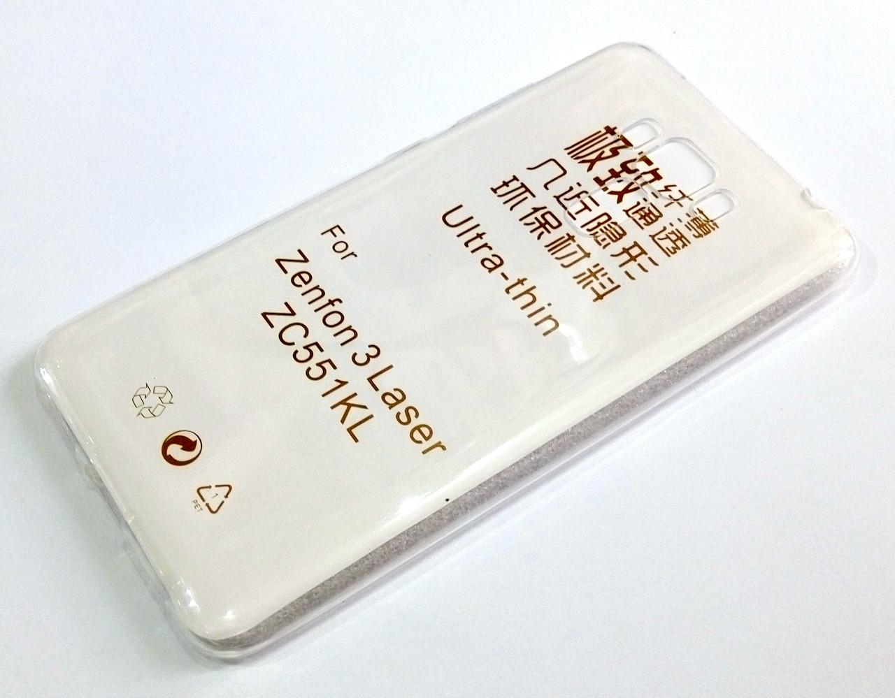 Чехол для Asus Zenfone 3 Laser ZC551KL силиконовый ультратонкий прозрачный