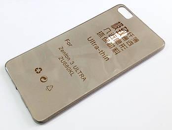 Чехол для Asus Zenfone 3 Ultra ZU680KL силиконовый ультратонкий прозрачный серый