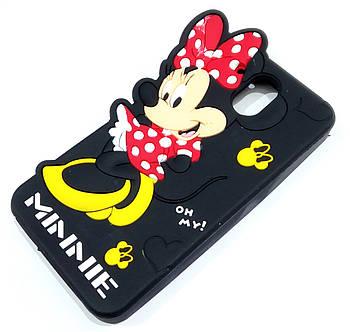 Чехол детский для HTC Desire 526 силиконовый объемный игрушка Минни Маус черный