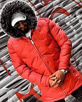 Куртка-парка турецкая мужская зимняя с капюшоном красная - размер S