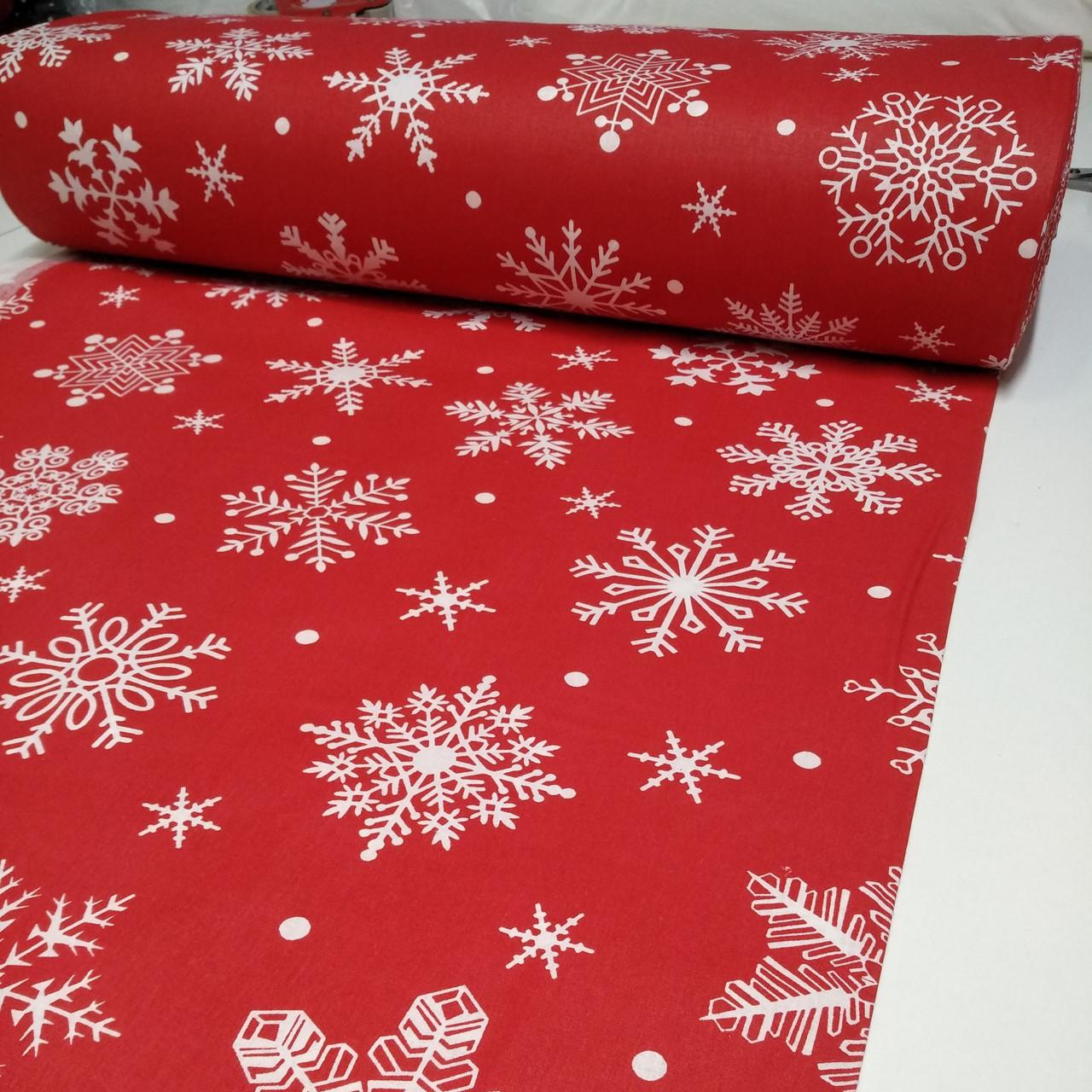 """Ткань Ранфорс """"Снежинки белые большие"""" 240, 100% хлопок."""