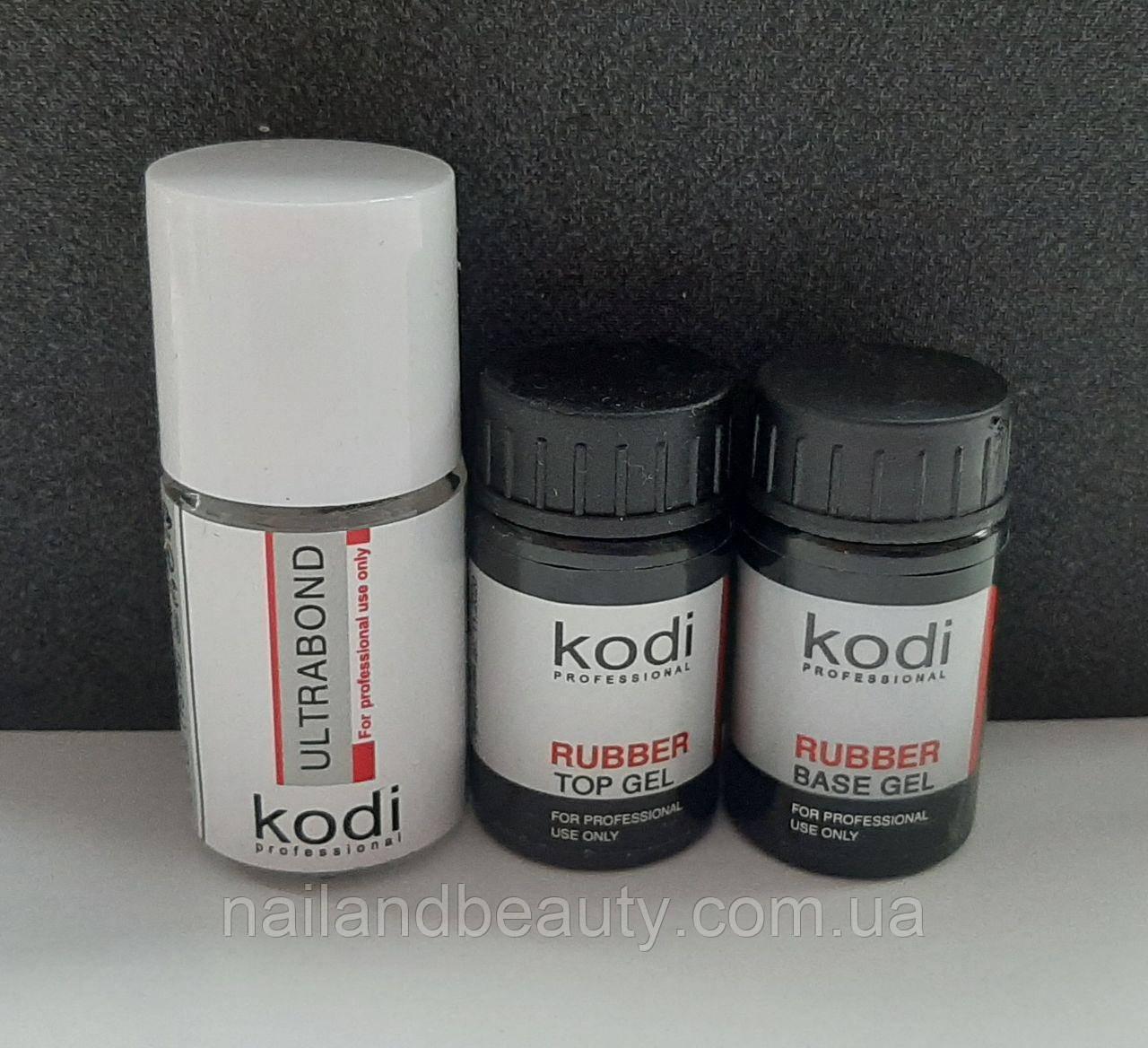 Топ и база Kodi (Base Kodi 14 ml + Rubber Top Kodi 14 ml + Ultrabond Kodi 15 ml \ Набор База Топ Бонд Коди)