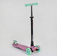 Самокат MAXI Best Scooter Кареты бирюзово-розовый со светящимися колесами