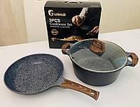 Набор посуды 3 предмета c мраморным покрытием (кастрюля 6 л, сковорода 28 см+крышки стеклянные)
