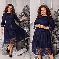 """Женское нарядное платье из креп дайвинга, сверху сетка """"Флок"""" батал с 48 по 58 рр"""