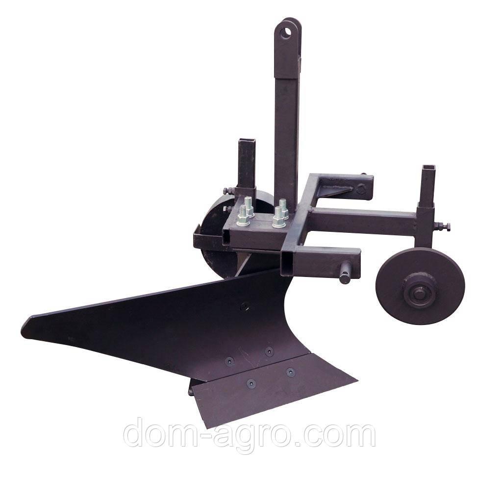Плуг однокорпусный для минитрактора (опорное колесо, прицепное 3 точки, дисковый нож) (ПЛ12)