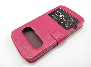 Чехол книжка с окошками momax для Huawei G610 розовый