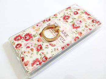 Чехол с кольцом для Huawei P8 силиконовый с рисунком цветы маленькие розы