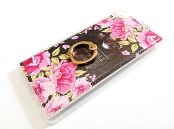 Чехол с кольцом для Huawei P8 силиконовый с рисунком цветы розы темный