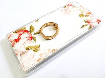 Чехол с кольцом для Huawei P8 силиконовый с рисунком цветы белый