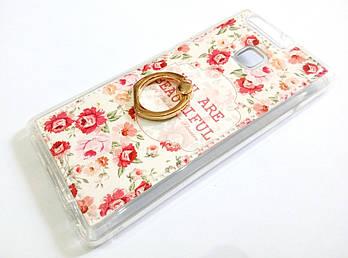 Чехол с кольцом для Huawei P9 силиконовый с рисунком цветы маленькие розы