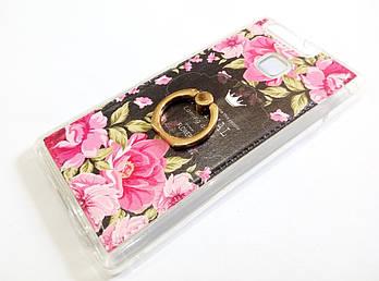 Чехол с кольцом для Huawei P9 силиконовый с рисунком цветы розы темный
