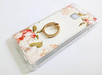 Чехол с кольцом для Huawei P9 силиконовый с рисунком цветы белый