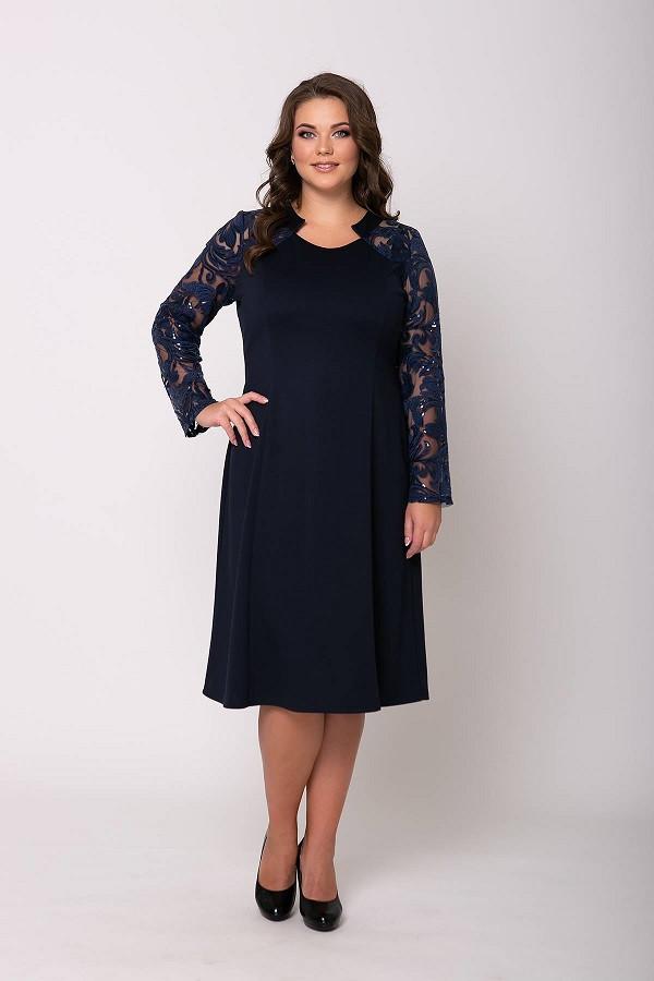 Нарядное платье Джудит темно-синее (54-60)