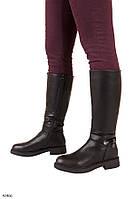 Женские сапоги черные ЗИМА с ремешком эко-кожа