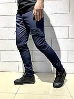 Теплые карго штаны Intruder SoftShell синие на флисе