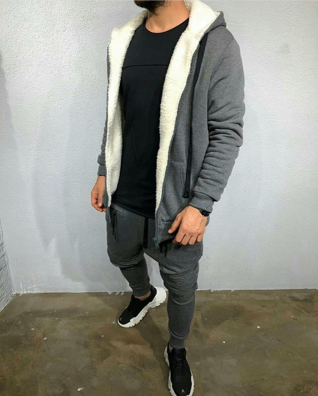 Костюм спортивный мужской из трехнитки с кофтой на меху (К29315)