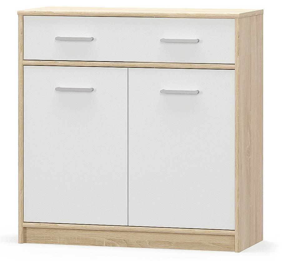 Комод 2Д1Ш Типс Дуб самоа + Белый Мебель Сервис (83.4х34.3х85 см)