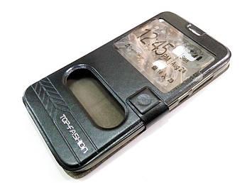 Чехол книжка с окошками momax для Huawei G8 черный