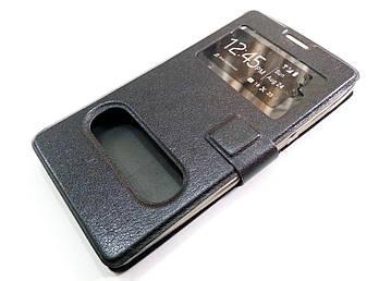 Чехол книжка с окошками momax для Huawei Honor 3C черный