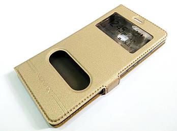 Чехол книжка с окошками momax для Huawei Y3 II / Y3-2 / Y3 2 золотой