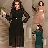 Р 42-58 Нарядное платье двойка с прозрачным верхом Батал 20738-1, фото 1