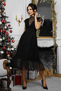 Вечернее женское платье-миди с сеткой для корпоратива